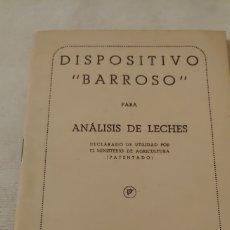 Libros de segunda mano: 1944 DISPOSITIVO BARROSO PARA ANÁLISIS DE LECHE. Lote 180026516