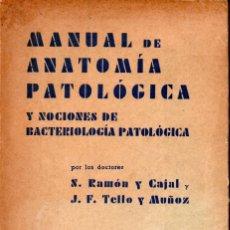 Libros de segunda mano: RAMÓN Y CAJAL / TELLO Y MUÑOZ : MANUAL DE ANATOMÍA PATOLÓGICA (1946) SIN DESBARBAR. Lote 180244833