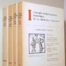 Libros de segunda mano: I CONGRES INTERNACIONAL D'HISTÒRIA DE LA MEDICINA CATALANA (4 VOL. - COMPLET) - BARCELONA 1971. Lote 191859555