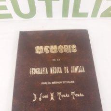 Libros de segunda mano: GEOGRAFIA MEDICA DE JUMILLA.JOSE M TOMAS TOMAS.FACSIMIL NUMERADO.. Lote 194395922