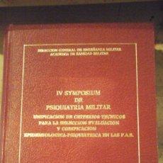Libros de segunda mano: IV SYMPOSIUM DE PSIQUIATRÍA MILITAR (MADRID, 1984). Lote 195132488
