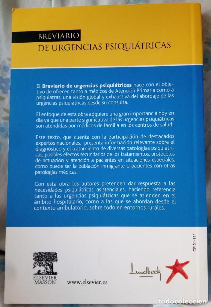 Libros de segunda mano: Breviario de urgencias psiquiátricas, V.V.A.A., editorial Elsevier Masson - Foto 3 - 195282572