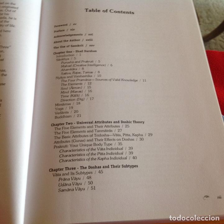 Libros de segunda mano: Los dos tomos de Ayurveda, de Vasant Lad, M.A.Sc, encuadernados en pasta dura, ver los dos índices. - Foto 3 - 195493130