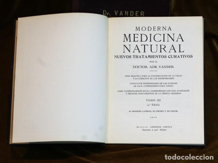 Libros de segunda mano: Moderna medicina natural,1952,doctor Vander,3 tomos - Foto 4 - 195504726