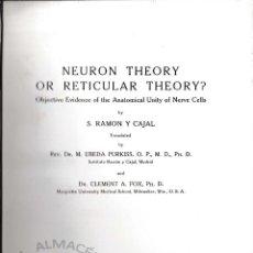 Libros de segunda mano: NEURON THEORY OR RETICULAR THEORY? (RAMÓN Y CAJAL, 1954) SIN USAR.. Lote 196072845
