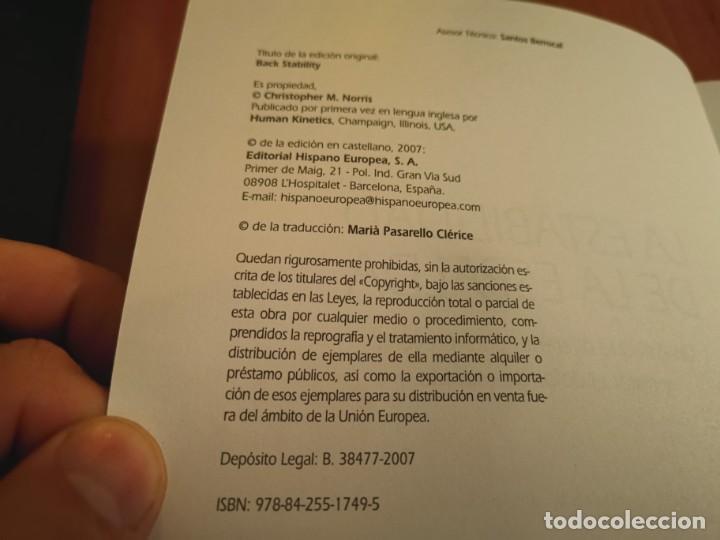 Libros de segunda mano: LA ESTABILIDAD DE LA ESPALDA PREVENIR Y CURAR EL DOLOR DE ESPALDA CHRISTOPHER M. NORRIS 2007 - Foto 2 - 196233641