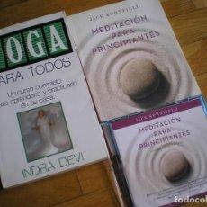 Libros de segunda mano: YOGA PARA TODOS, MEDITACIÓN PARA PRINCIPIANTES Y CD CON MEDITACIONES. Lote 208970525