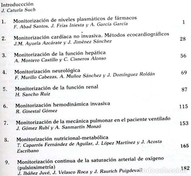 Libros de segunda mano: MONITORIZACIÓN DEL PACIENTE GRAVE - J. CATURLA SUCH - IDEPSA 1995 - VER INDICE - Foto 2 - 210317983