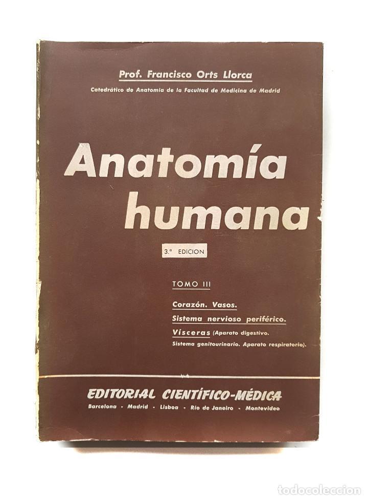 ANATOMIA HUMANA TOMO III PROFESOR FRANCISCO ORTS LLORCA (Libros de Segunda Mano - Ciencias, Manuales y Oficios - Medicina, Farmacia y Salud)