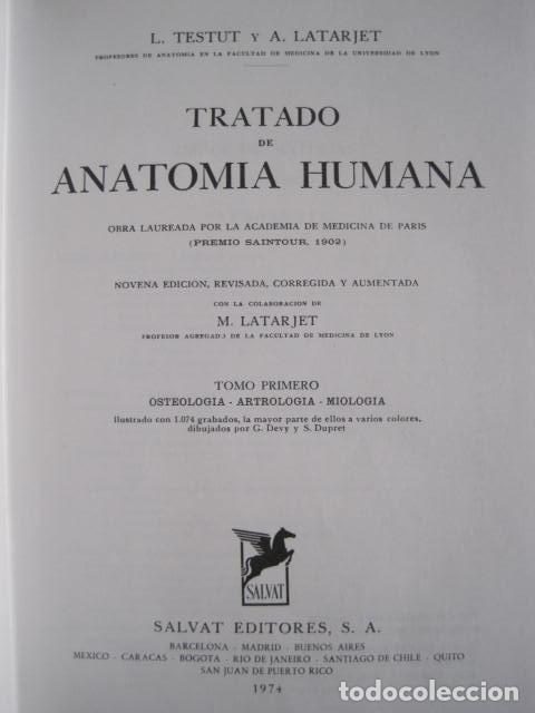 Libros de segunda mano: L. TESTUT, A. LATARJET. ANATOMÍA HUMANA. SALVAT. 4 TOMOS. PREMIO SAINTOUR. ILUSTRAN G. DEVY Y DUPRET - Foto 9 - 213995663