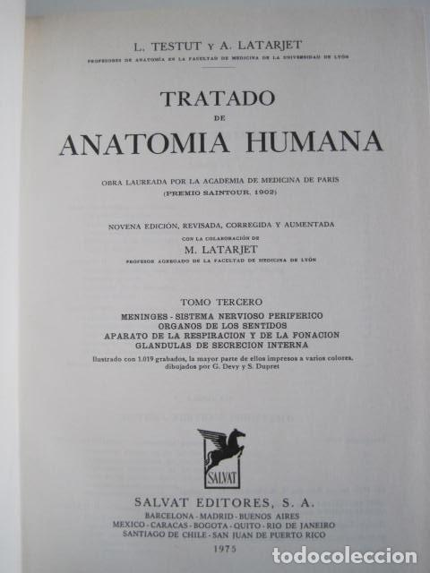 Libros de segunda mano: L. TESTUT, A. LATARJET. ANATOMÍA HUMANA. SALVAT. 4 TOMOS. PREMIO SAINTOUR. ILUSTRAN G. DEVY Y DUPRET - Foto 59 - 213995663