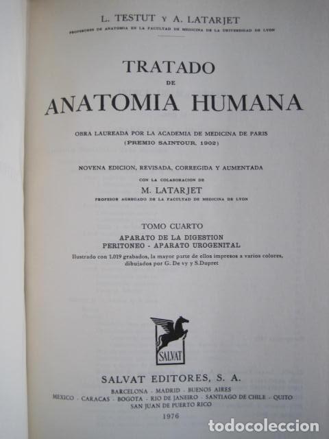 Libros de segunda mano: L. TESTUT, A. LATARJET. ANATOMÍA HUMANA. SALVAT. 4 TOMOS. PREMIO SAINTOUR. ILUSTRAN G. DEVY Y DUPRET - Foto 80 - 213995663