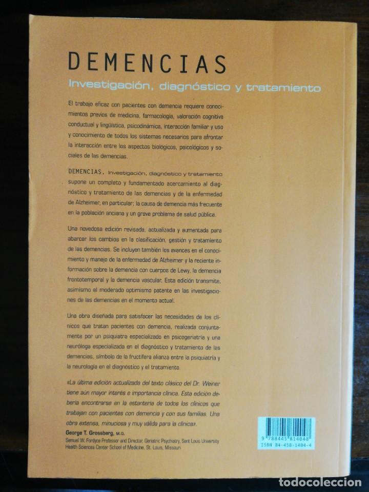 Libros de segunda mano: DEMENCIAS. INVESTIGACIÓN, DIAGNÓSTICO Y TRATAMIENTO. MYRON F. WEINER / ANNE M. LIPTON - Foto 3 - 221912791