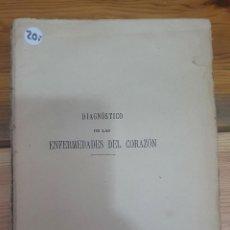 Libros de segunda mano: 45412 - DIAGNOSTICO DE LAS ENFERMEDADES DEL CORAZON - POR D. RICARDO ROYO VILLANOVA - AÑO 1900. Lote 231431805