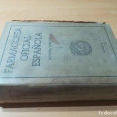 Libros de segunda mano: FARMACOPEA OFICIAL ESPAÑOLA / NOVENA EDICION I / MADRID 1954 / AC306. Lote 232647415