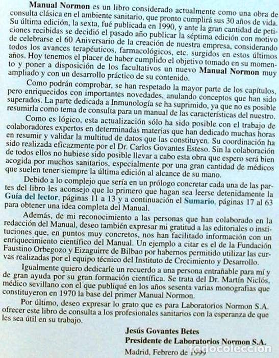 Libros de segunda mano: MANUAL NORMON - SEPTIMA EDICIÓN - LABORATORIOS NORMON 1999 - VER DESCRIPCIÓN - Foto 2 - 235223460