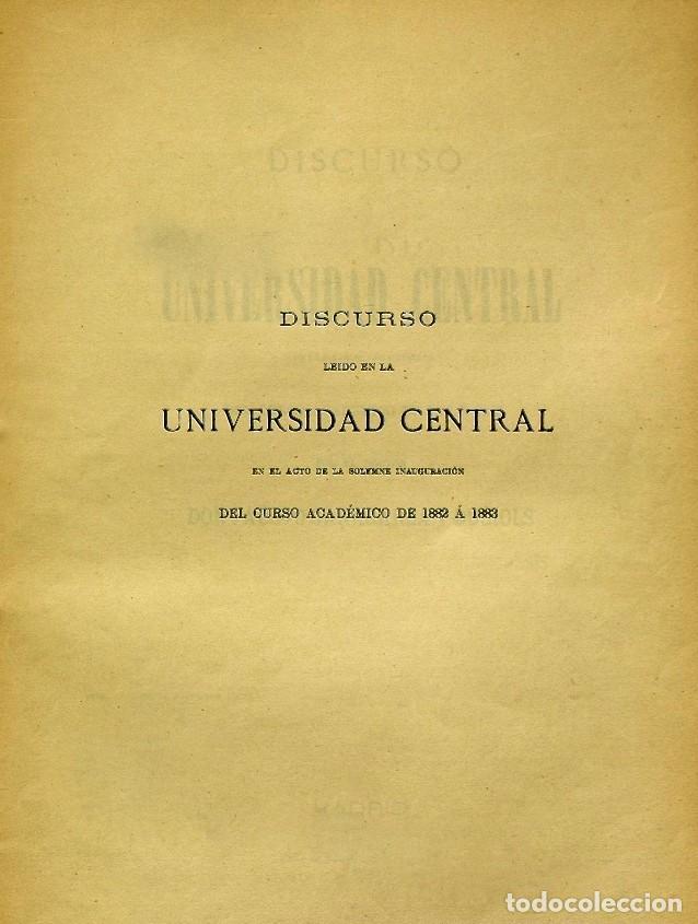 Libros de segunda mano: Discurso Universidad Central inauguración curso 1882 á 1883. Fausto Garagarza y Dugiols (Farmacia) - Foto 2 - 257732295