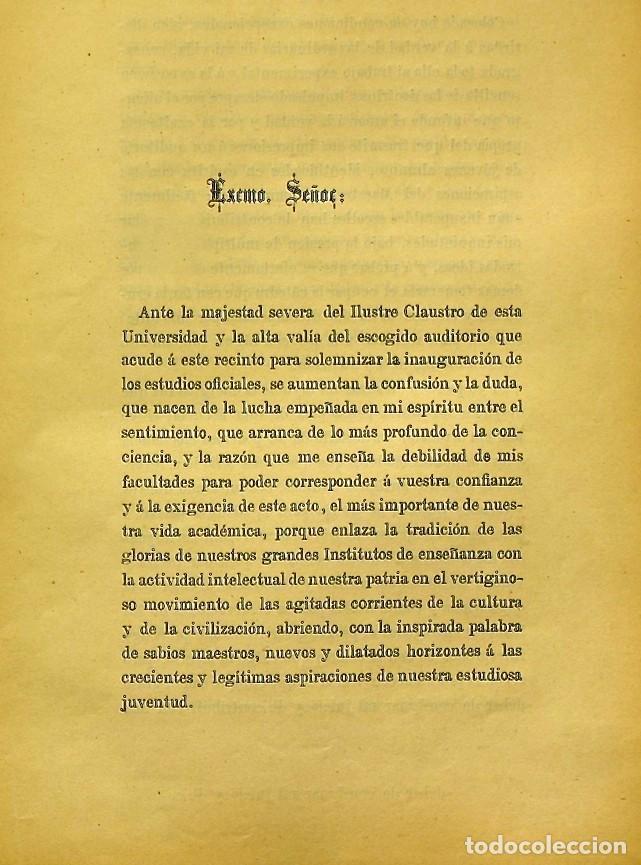Libros de segunda mano: Discurso Universidad Central inauguración curso 1882 á 1883. Fausto Garagarza y Dugiols (Farmacia) - Foto 4 - 257732295