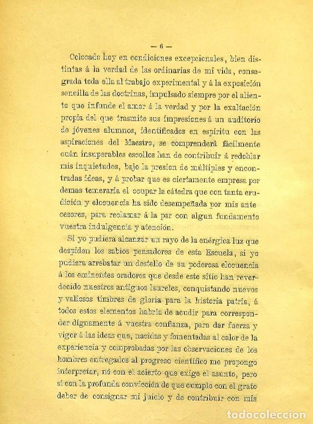 Libros de segunda mano: Discurso Universidad Central inauguración curso 1882 á 1883. Fausto Garagarza y Dugiols (Farmacia) - Foto 5 - 257732295