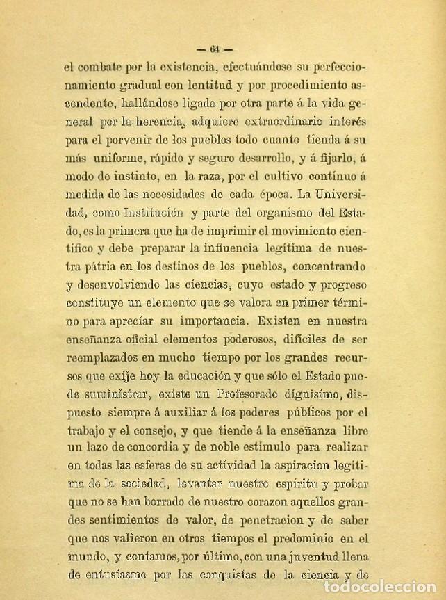 Libros de segunda mano: Discurso Universidad Central inauguración curso 1882 á 1883. Fausto Garagarza y Dugiols (Farmacia) - Foto 55 - 257732295