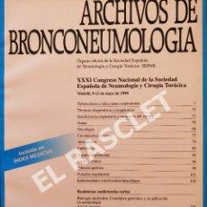 Libros de segunda mano: ARCHIVOS DE BRONCONEUMOLOGIA - VOLUMEN 34 - MAYO 1998. Lote 287769163