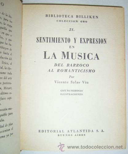 Libros de segunda mano: Sentimiento Y Expresion En La Musica - Vicente Salas Viu - 1943 - Foto 2 - 22466859
