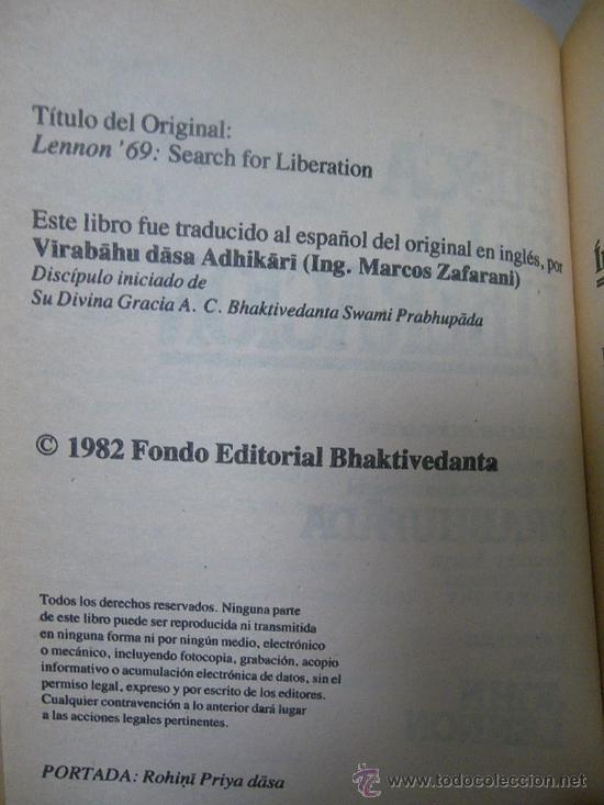 Libros de segunda mano: Libro: En busqueda de la liberación (Jhon Lennon y Prabhupada (Hare Krsna) (1982) - Foto 2 - 29549286