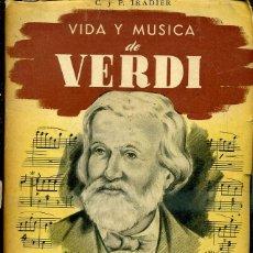 Libros de segunda mano: IRADIER : VIDA Y MÚSICA DE VERDI (SEMCA, 1946). Lote 47491812