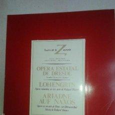 Libros de segunda mano: LIBROS ARTE OPERA - TEATRO DE LA ZARZUELA PROGRAMA OPERA ESTATAL DE DRESDE - LOHENGRIN. Lote 56499529