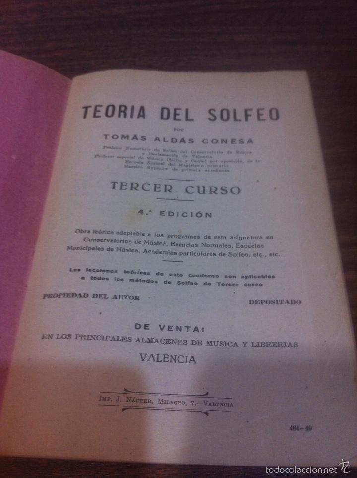 TEORÍA DEL SOLFEO POR TOMAS ALDAS 3 CURSO 4 EDICIÓN (Libros de Segunda Mano - Bellas artes, ocio y coleccionismo - Música)