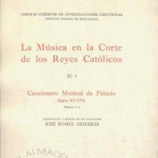 Libros de segunda mano: CANCIONERO MUSICAL DE PALACIO 2 VOLS. LA MÚSICA EN LA CORTE DE LOS REYES CATÓLICOS (J. ROMEU 1965). Lote 213668685