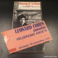 Libros de segunda mano: LEONARD COHEN. CANCIONES. (1979) + ENTRADA CONCIERTO SAN SEBASTIÁN (1980).. Lote 102623607