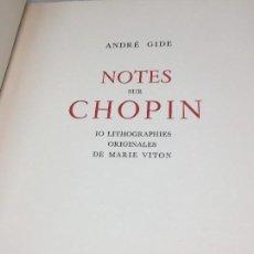 Libros de segunda mano: NOTES SUR CHOPÍN ANDRÉ GIDE 1948. Lote 111377567