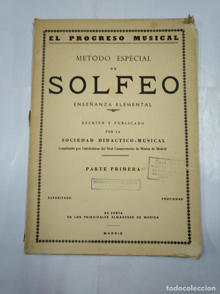 MÉTODO ESPECIAL DE SOLFEO. ENSEÑANZA ELEMENTAL. PARTE PRIMERA. MADRID. 1959. TDK97 (Libros de Segunda Mano - Bellas artes, ocio y coleccionismo - Música)