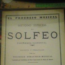 Libros de segunda mano - EL PROGRESO MUSICAL. METODO ESPECIAL DE SOLFEO ENSEÑANZA ELEMENTAL. Parte Primera (Madrid, 1959) - 141126230