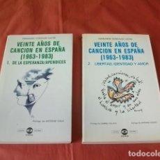 Libros de segunda mano: VEINTE AÑOS DE CANCIÓN EN ESPAÑA 1963-1983. TOMO I Y II - FERNANDO GONZÁLEZ LUCINI. Lote 158657170