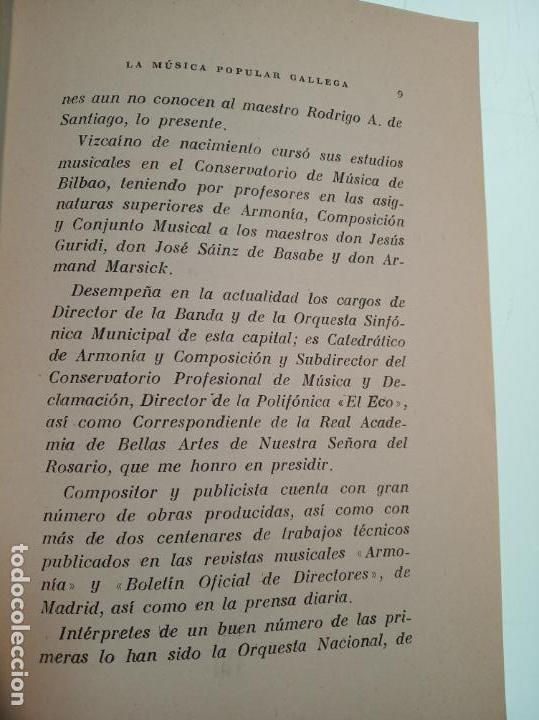 Libros de segunda mano: La música popular gallega. Rodrigo A. De Santiago. Firmado y dedicado. Imp. Roel. La Coruña. 1959. - Foto 3 - 159119874