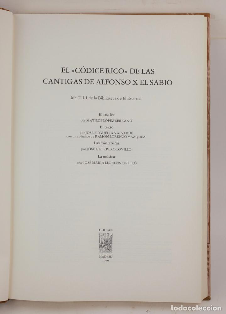 EL CÓDICE RICO DE LAS CANTIGAS DE ALFONSO X EL SABIO, FACSÍMIL, 1979, EDILAN, MADRID. 50X35CM (Libros de Segunda Mano - Bellas artes, ocio y coleccionismo - Música)