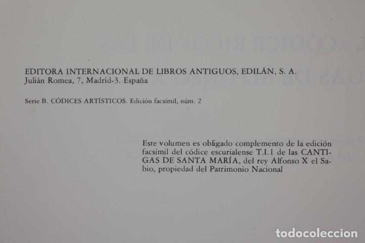Libros de segunda mano: El códice rico de las cantigas de Alfonso X el sabio, facsímil, 1979, Edilan, Madrid. 50x35cm - Foto 6 - 161756118