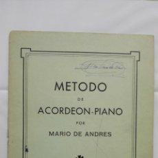 Libri di seconda mano: METODO DE ACORDEON Y PIANO POR MARIO DE ANDRES, 1º CUADERNO 1ª PARTE. Lote 168183684