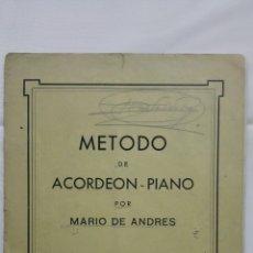 Libri di seconda mano: METODO DE ACORDEON Y PIANO POR MARIO DE ANDRES, 1º CUADERNO 2ª PARTE. Lote 168183744