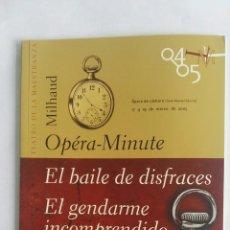 Libros de segunda mano: POULENC EL BAILE DE DISFRACES EL GENDARME INCOMPRENDIDO ÓPERA-MINUTE. Lote 175466490