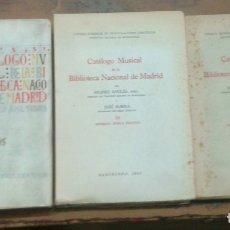 Libros de segunda mano: CATÁLOGO MUSICAL DE LA BIBLIOTECA NACIONAL DE MADRID - COMPLETA 3 VOLS - 1946 - 1951 - SIN USAR. Lote 176806344