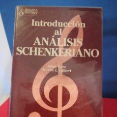 Libros de segunda mano: INTRODUCCIÓN AL ANÁLISIS SCHENKERIANO - ALLEN FORTE/STEVEN E. GILBERT - LABOR, 1992. Lote 177532165