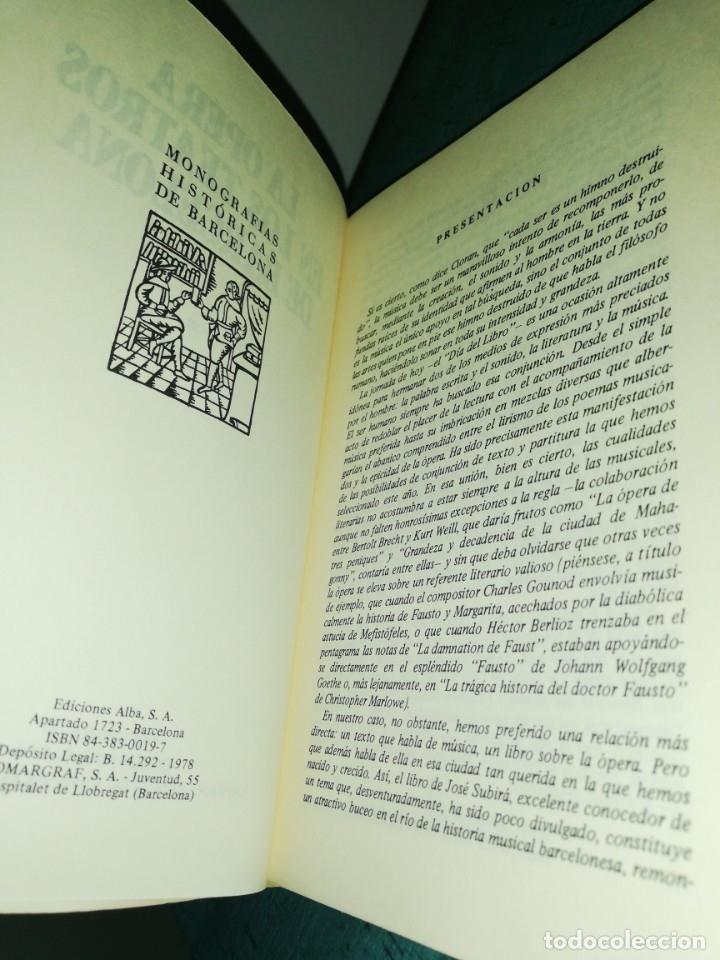 Libros de segunda mano: La opera en los teatros de Barcelona, por José subira 1946, ilustrado - Foto 2 - 180430725