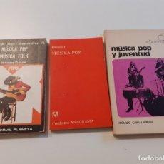 Libros de segunda mano: LOTE MÚSCIA POP - DOSSIER ANAGRAMA - LIBRO MÚSICA POP Y JUVENTUD (1.973) DE RICARDO CANTALAPIEDRA. I. Lote 181351142