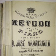 Libros de segunda mano: METODO COMPLETO DE PIANO COMPUESTO POR D. JOSE ARANGUREN LIBRO MUY ANTIGUO MADRID S.XIX 7 EDICION. Lote 184086885