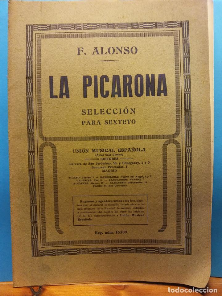 LA PICARONA. F. ALONSO. UNIÓN MUSICAL ESPAÑOLA, EDITORES (Libros de Segunda Mano - Bellas artes, ocio y coleccionismo - Música)
