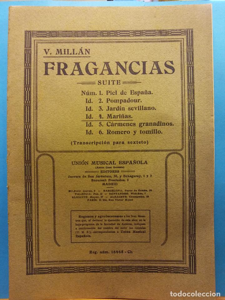 FRAGANCIAS. V. MILLÁN. UNIÓN MUSICAL ESPAÑOLA, EDITORES (Libros de Segunda Mano - Bellas artes, ocio y coleccionismo - Música)