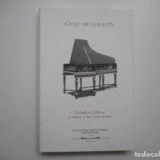 Libros de segunda mano: CICLO DE CLAVECÍN. ESTUDIOS CRÍTICOS Y NOTAS A LOS CONCIERTOS Y98376T . Lote 192786481